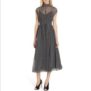 *Price Firm* NWT Houndstooth Chiffon Midi Dress